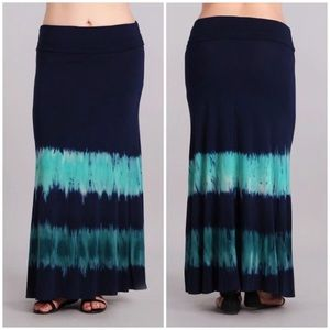 Dresses & Skirts - Plus Tie Dye High Waist Foldover Boho Maxi Skirt